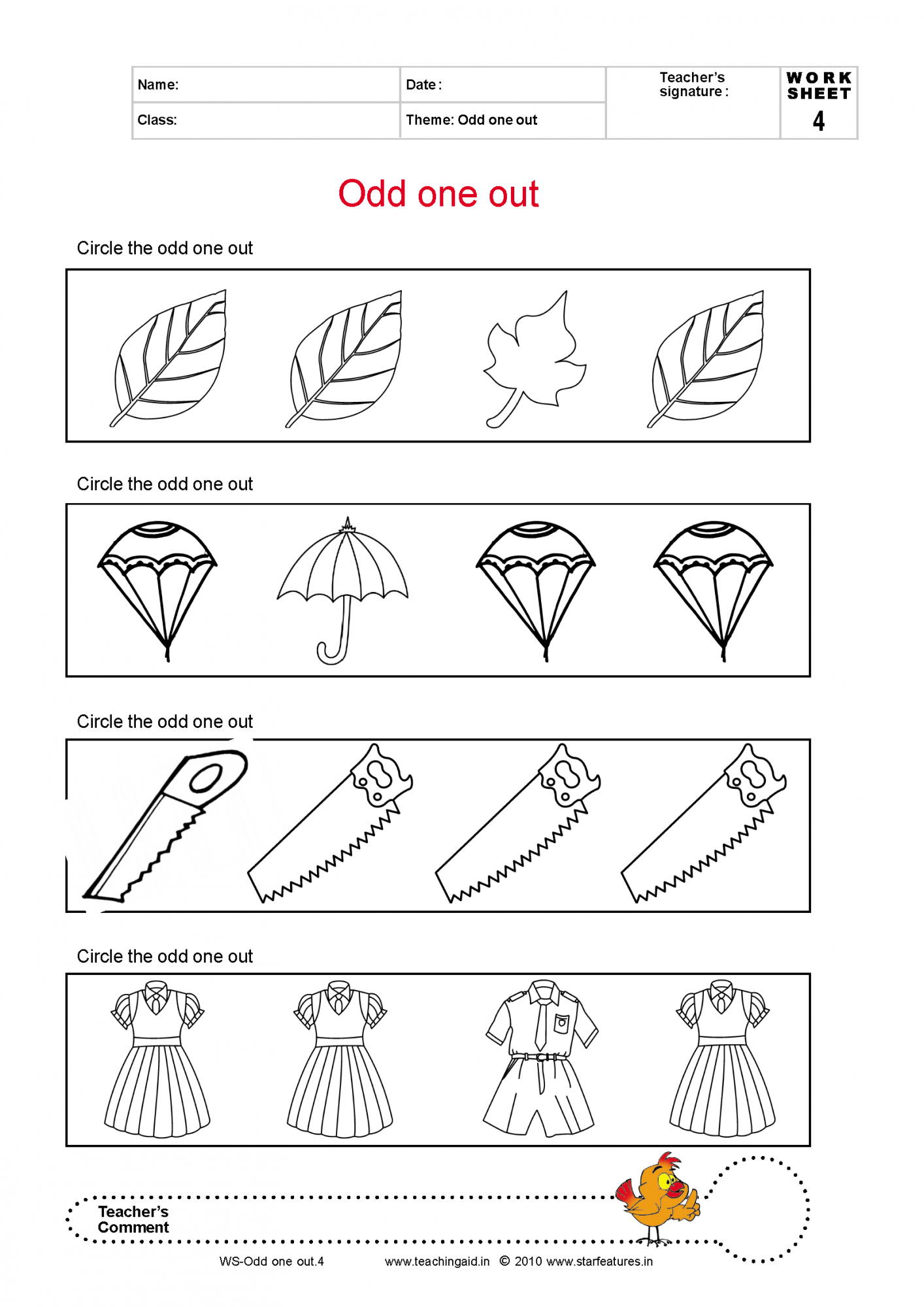 odd one out printable free basic concepts worksheets printable out odd one