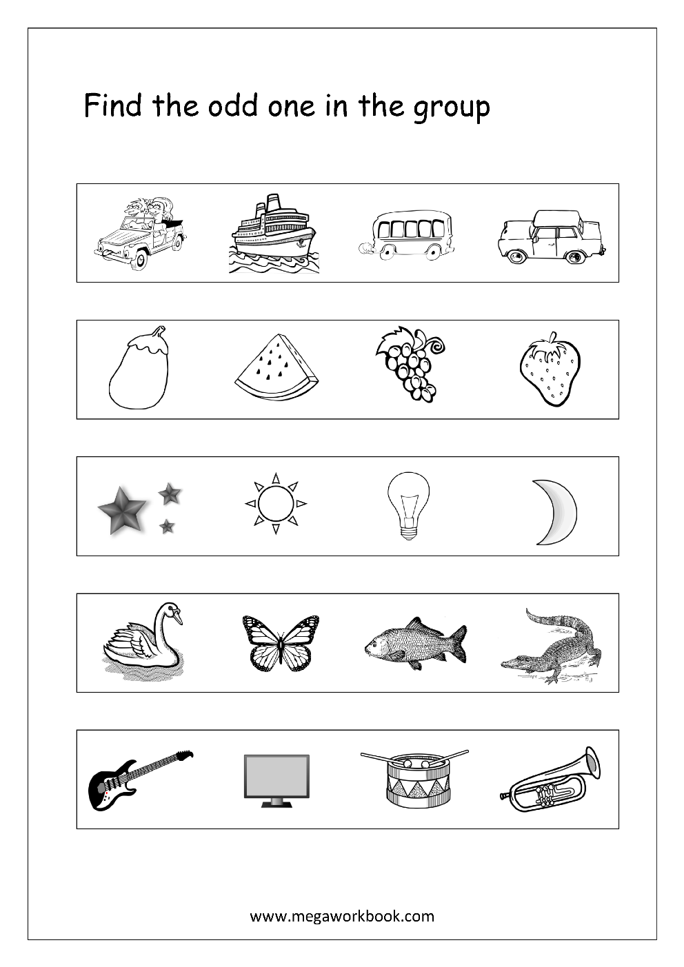 odd one out printable odd one out worksheet 3 kids math worksheets nursery odd out printable one