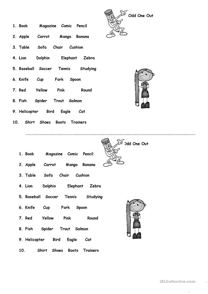 odd one out printable odd one out worksheet free esl printable worksheets out printable odd one