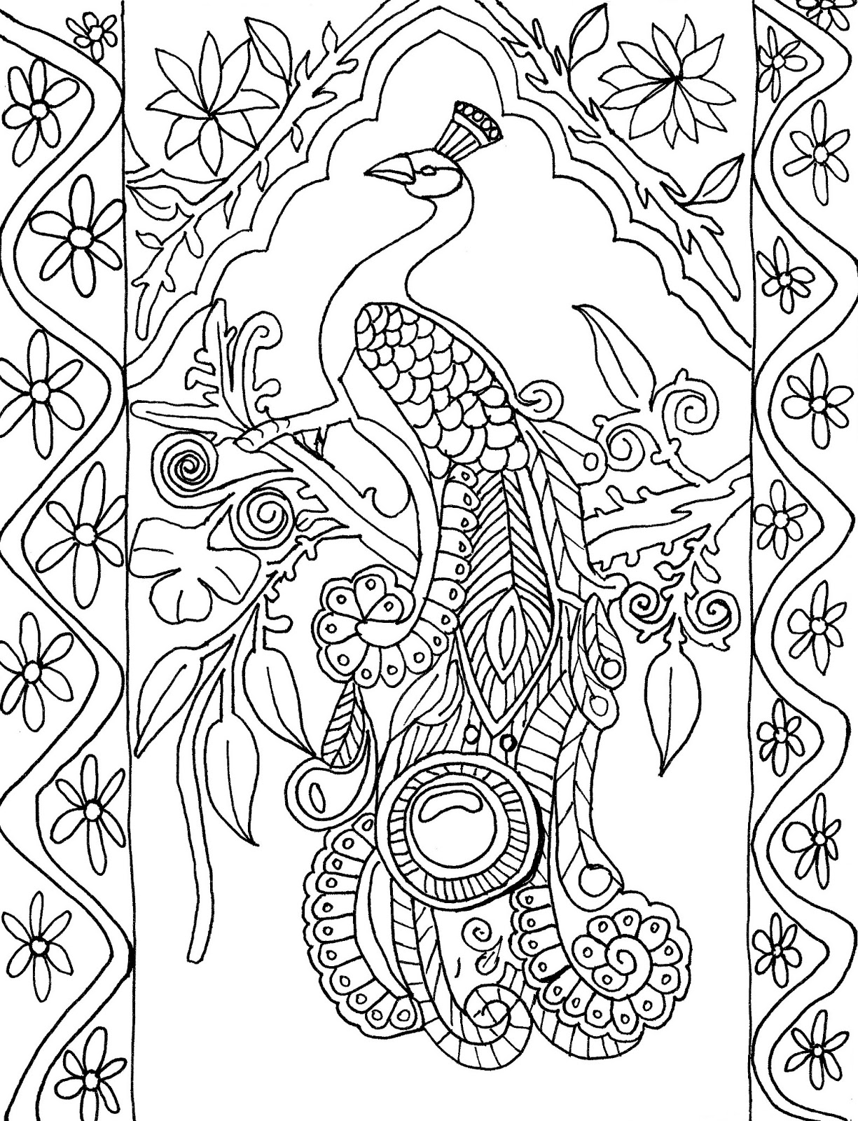 peacock coloring book coloring page world peacock portrait book coloring peacock