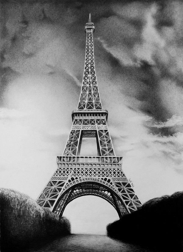 pencil sketch of eiffel tower drawn eiffel tower pencil drawing pencil and in color eiffel tower sketch pencil of