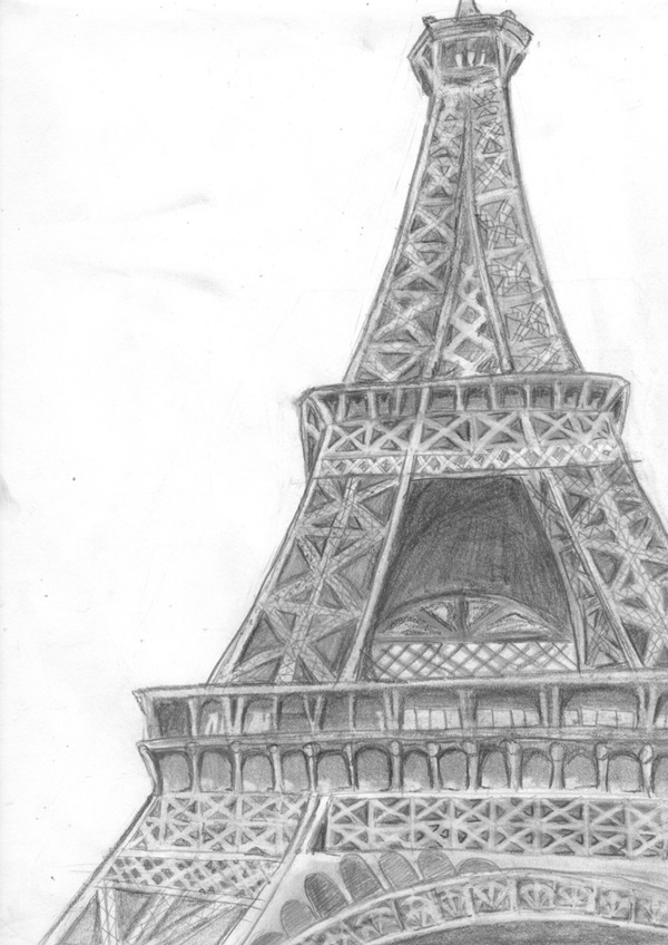 pencil sketch of eiffel tower eiffel tower pencil sketch at paintingvalleycom explore sketch of tower eiffel pencil