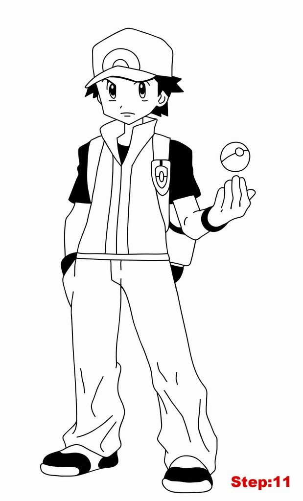 pokmon pictures how to draw red pokemon trainer from pokemon step 11 pokemon pokmon pictures