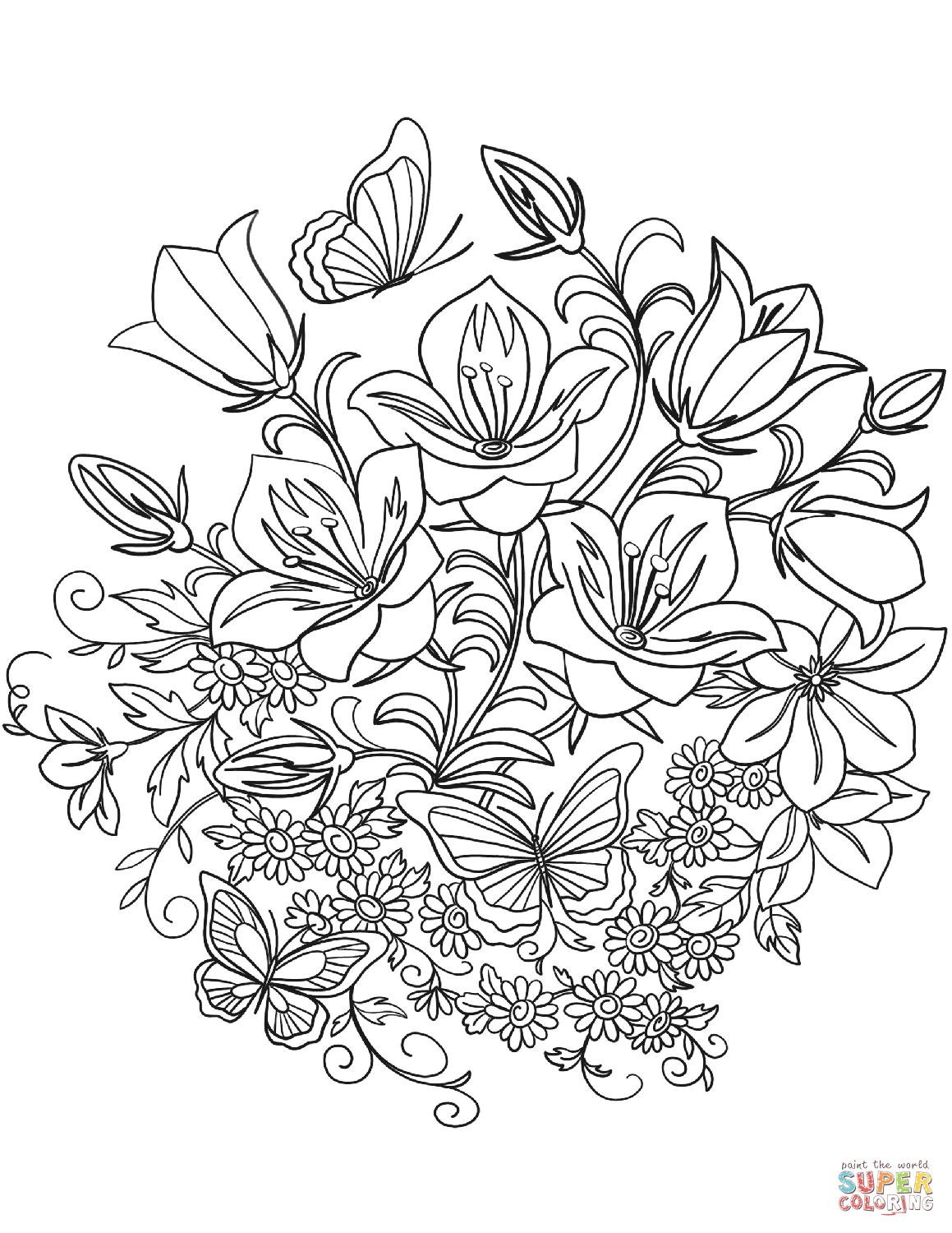 printable coloring pages of flowers and butterflies free printable butterfly coloring pages for kids printable pages coloring butterflies and flowers of