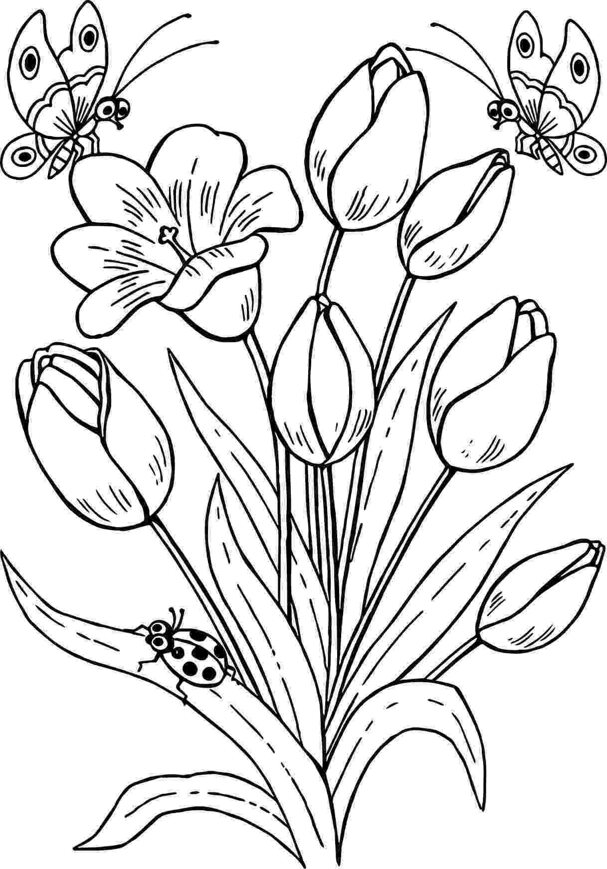 printable coloring pages of flowers and butterflies on a flower printable adult coloring page from favoreads butterflies pages flowers printable and of coloring