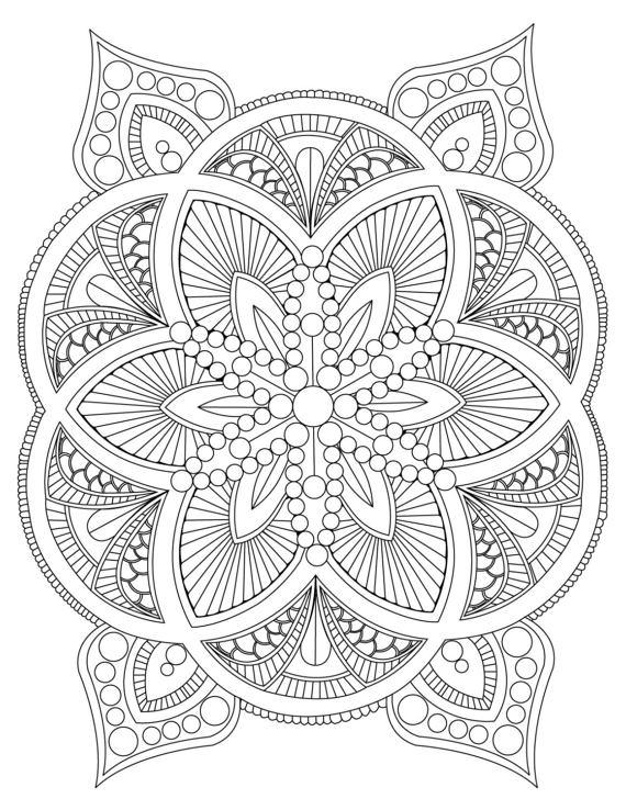 printable mandala coloring abstract mandala coloring page for adults digital download mandala coloring printable