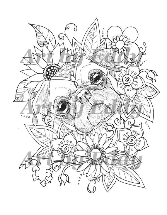 pug coloring pages art of pug single coloring page sunflower pug pages pug coloring