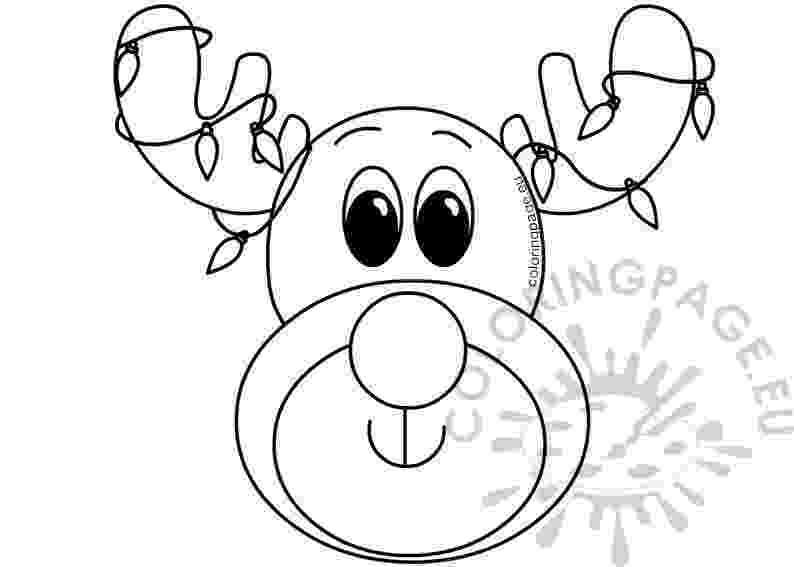 reindeer face coloring page xmas reindeer face with colored lights coloring page reindeer page coloring face