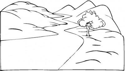 road coloring page paisagem com estrada no meio das montanhas e arvore para road coloring page