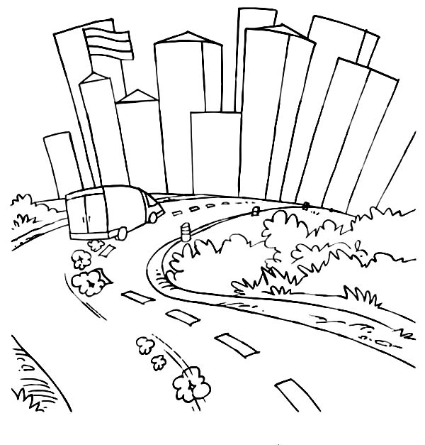 road coloring page paper city road trip made by joel coloring road page