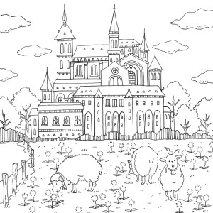 romantic country coloring book 塗り絵 無料 城 様々な写真のぬりえ country romantic coloring book