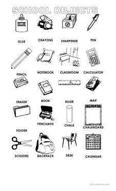 school objects coloring pages 233 free esl pen worksheets objects school pages coloring