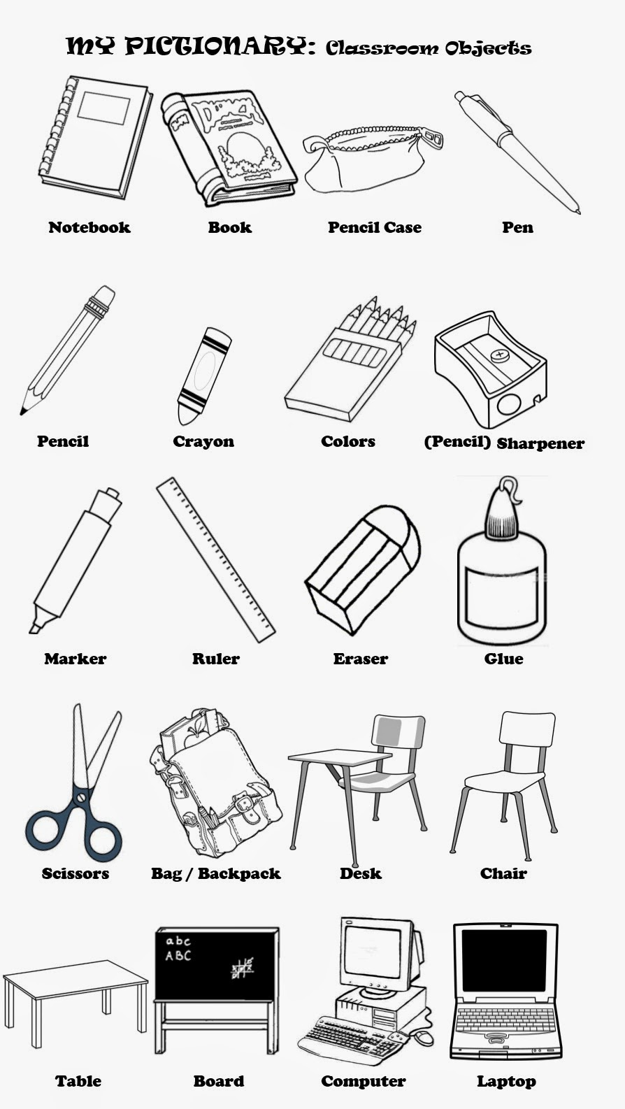 school objects coloring pages classroom objects english teacher o prof de français coloring school objects pages