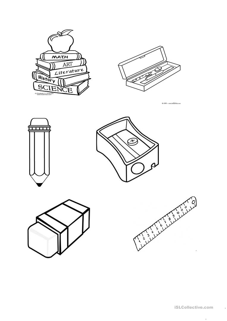 school objects coloring pages school objects coloring page classroom english obj on pages school objects coloring