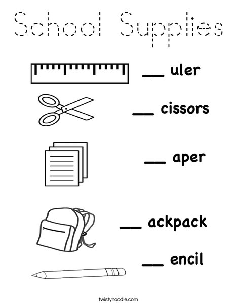 school objects coloring pages school supplies coloring page tracing twisty noodle coloring pages school objects