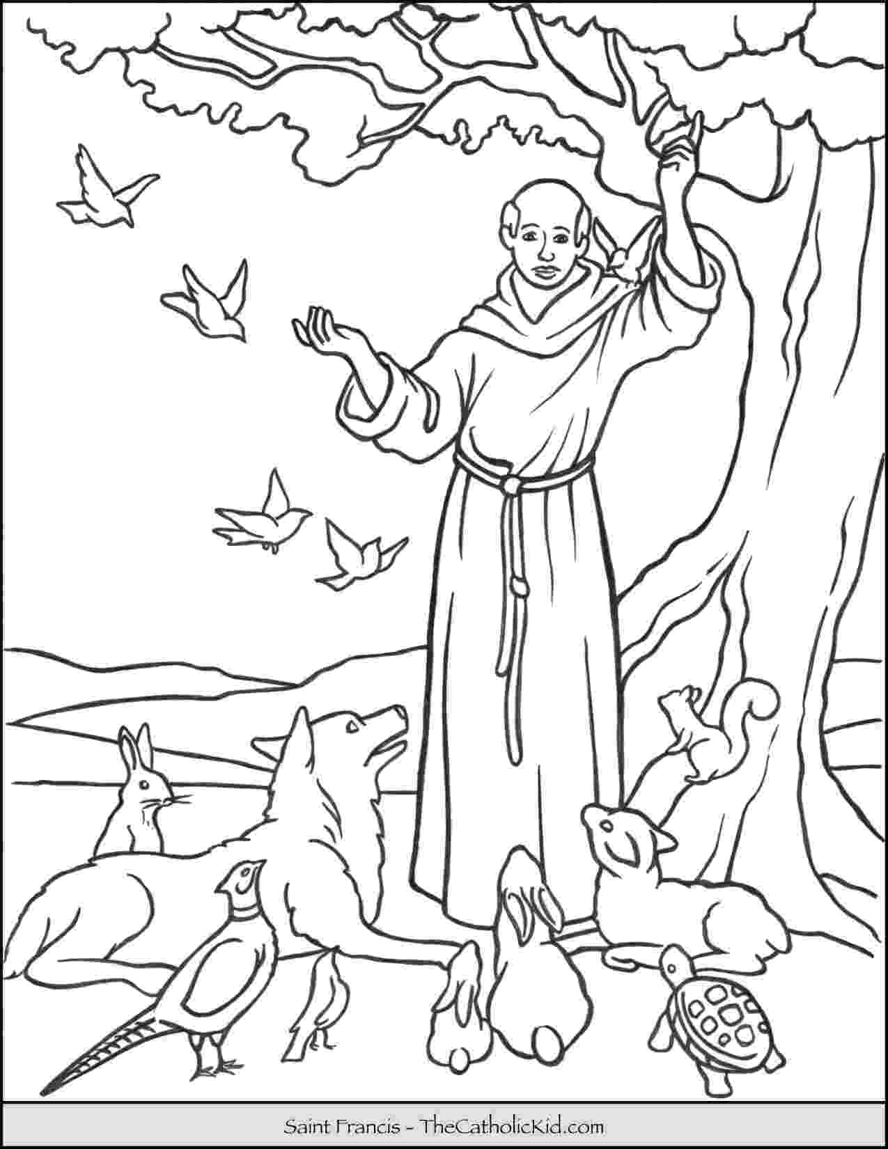 st francis coloring page saint francis blessing animals coloring page page francis coloring st