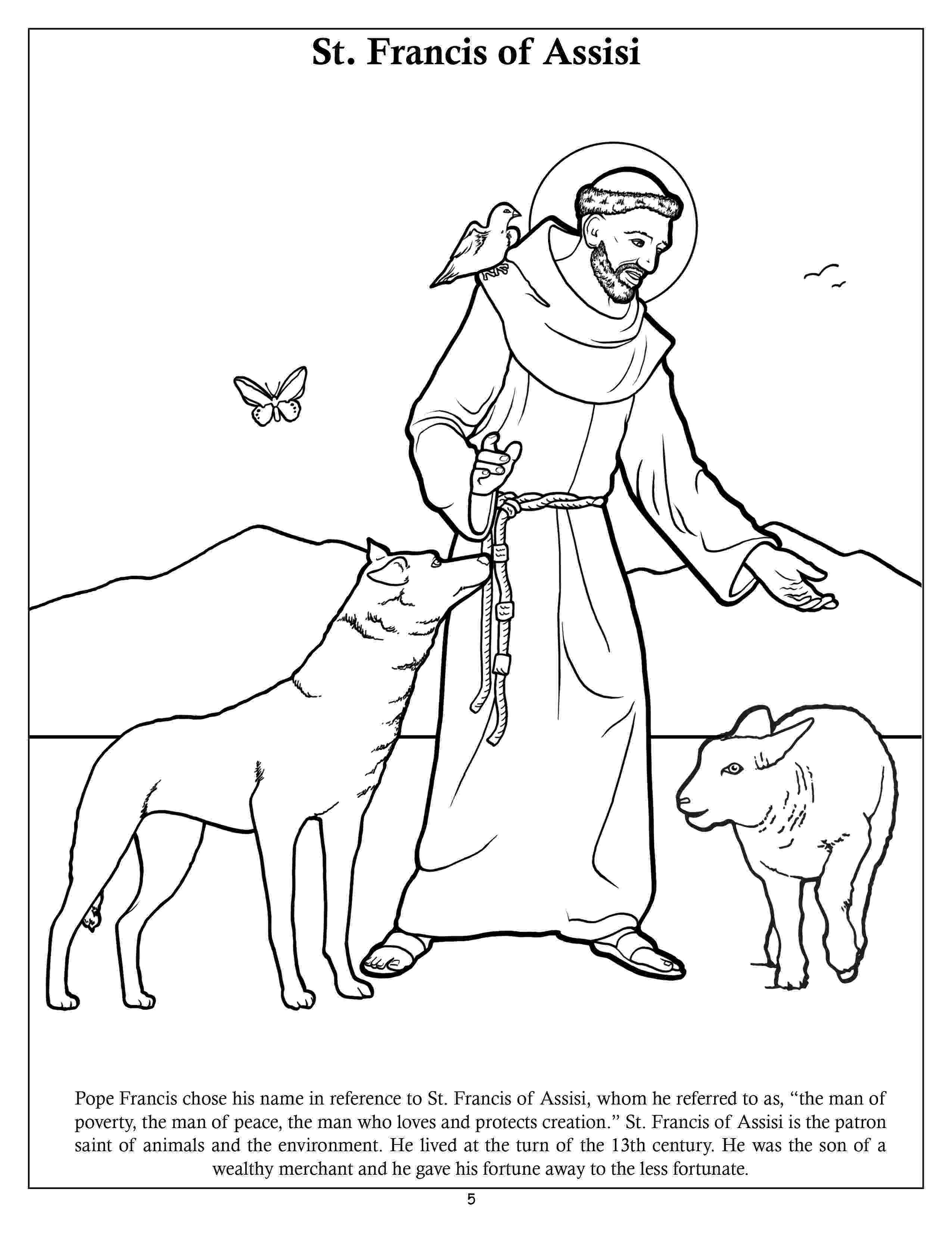 st francis coloring page st francis of assisi coloring pages for catholic kids page francis coloring st