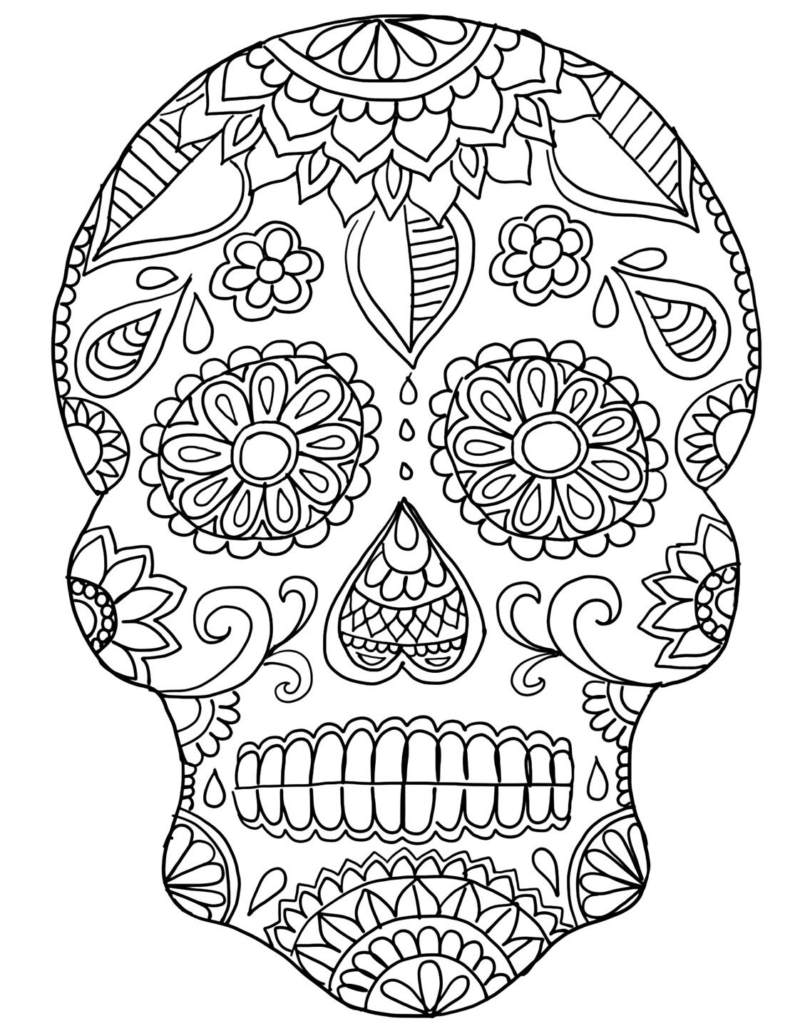sugar skull coloring pages printable sugar skull drawing easy at getdrawingscom free for pages skull coloring printable sugar