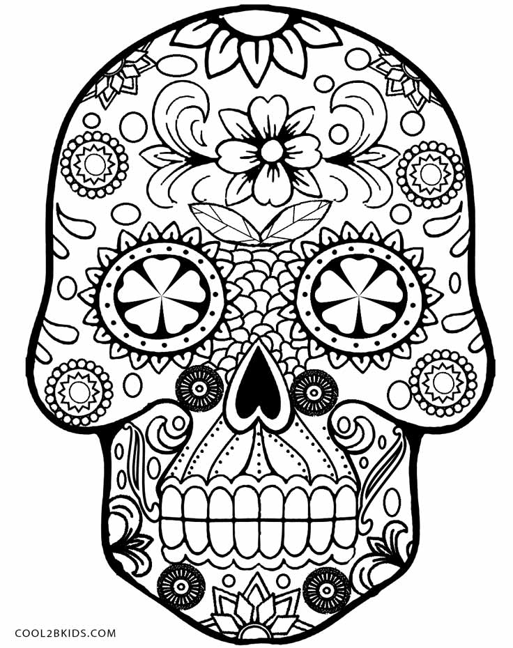 sugar skull coloring pages printable sugar skull with diamonds coloring page free printable skull pages coloring sugar printable
