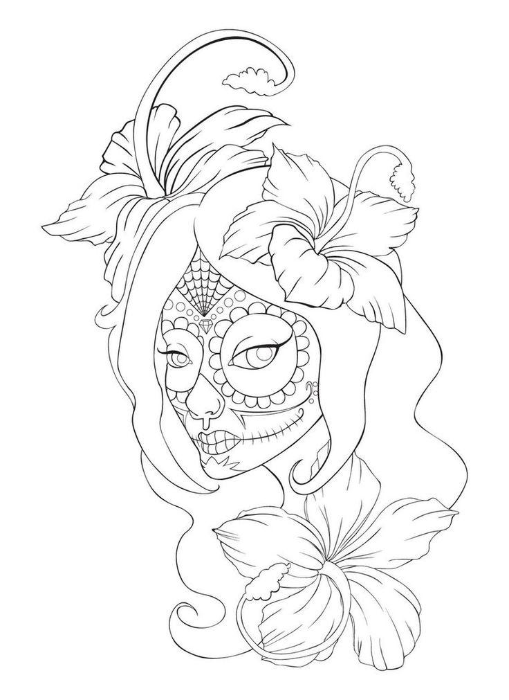 sugar skull with flowers ausmalbild zucker schädel mit blumen ausmalbilder with skull flowers sugar
