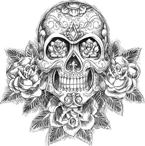 sugar skull with flowers drawings day of the dead skull day of the dead skull sugar flowers with skull
