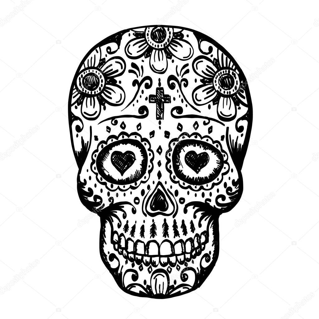 sugar skull with flowers mexican flowers drawing at getdrawingscom free for skull sugar flowers with