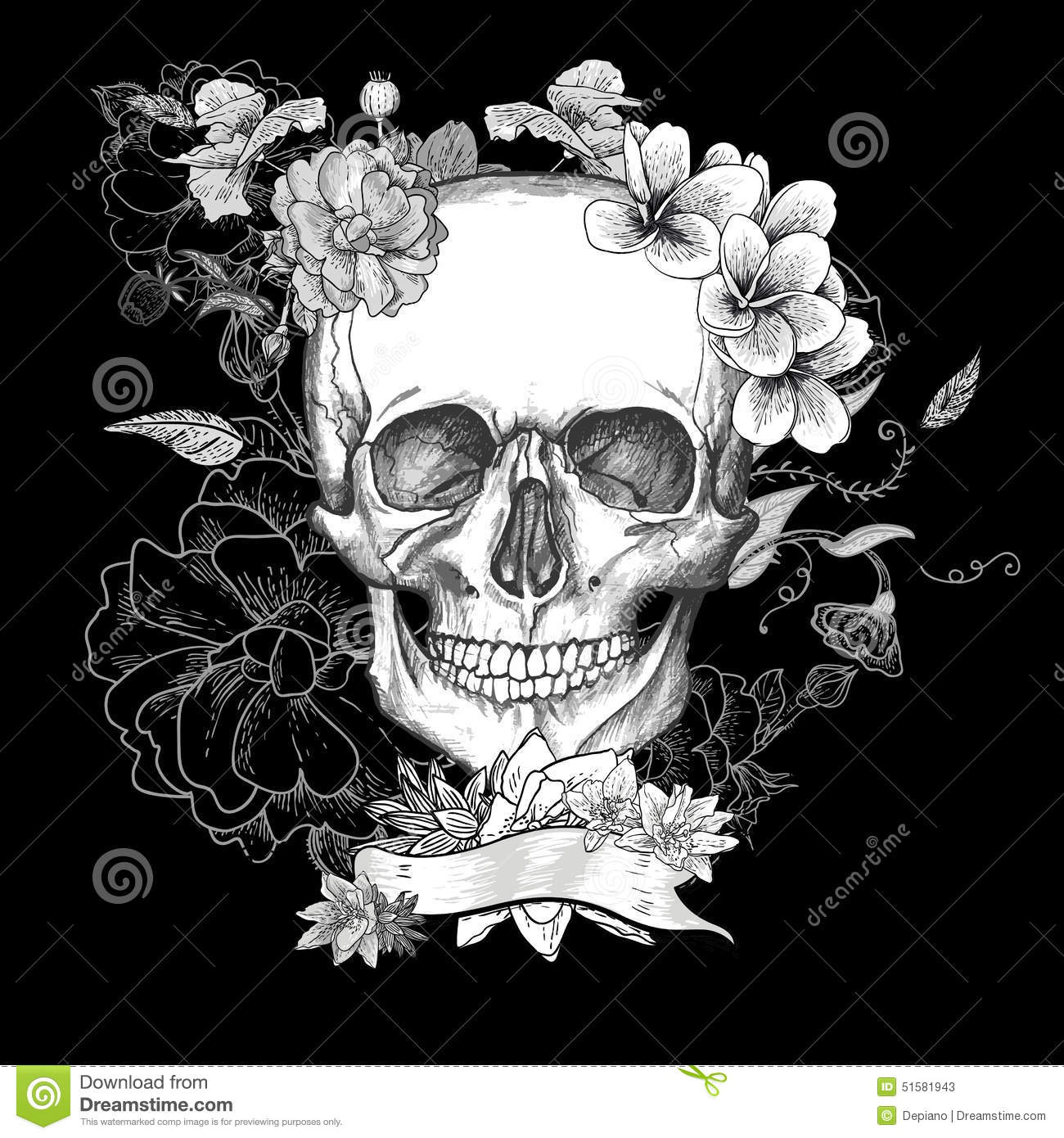 sugar skull with flowers skull and flowers day of the dead stock vector image sugar with flowers skull