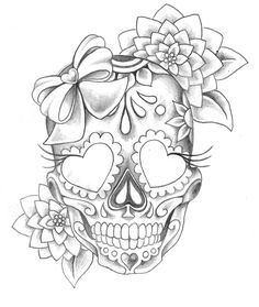 sugar skull with flowers tattoos book 2510 free printable tattoo stencils skulls with flowers skull sugar
