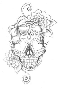 sugar skull with flowers tattoos book 2510 free printable tattoo stencils sugar with flowers skull sugar