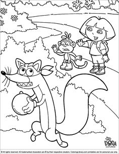 swiper coloring page dora coloring pages cutecoloringcom page swiper coloring
