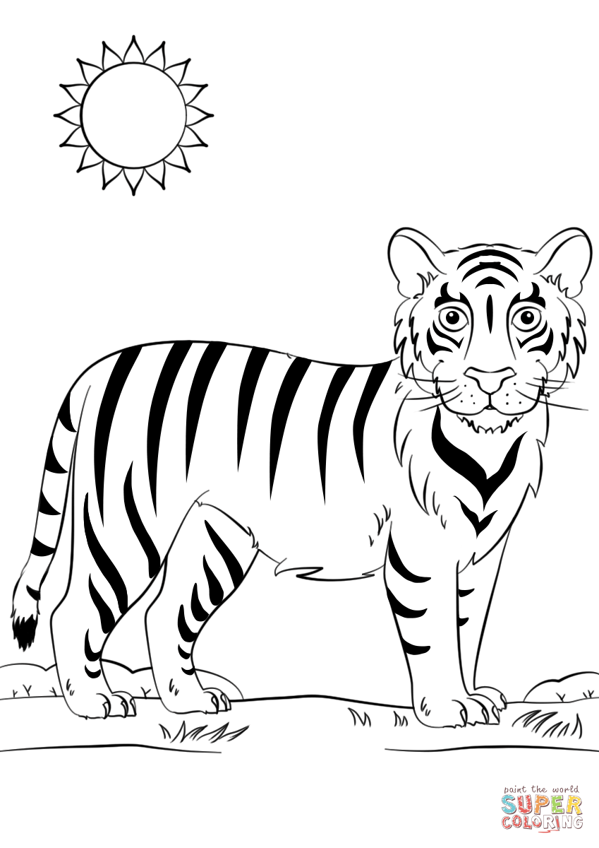 tiger images for colouring outline of tiger coloring home for images tiger colouring