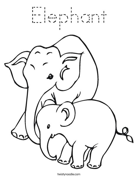 traceable elephant elephant coloring page tracing twisty noodle elephant traceable