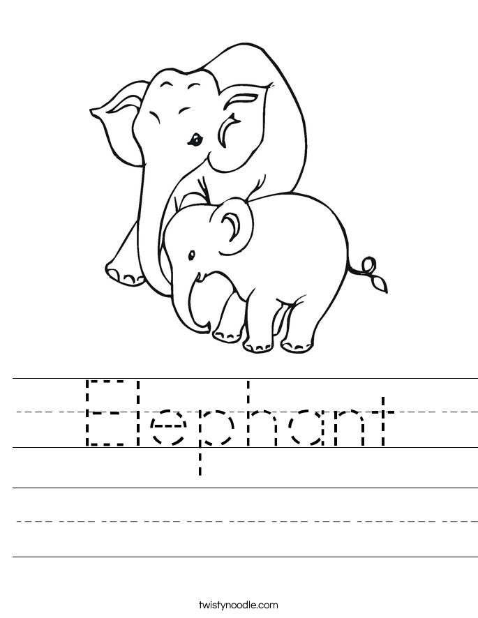 traceable elephant elephant worksheet twisty noodle traceable elephant