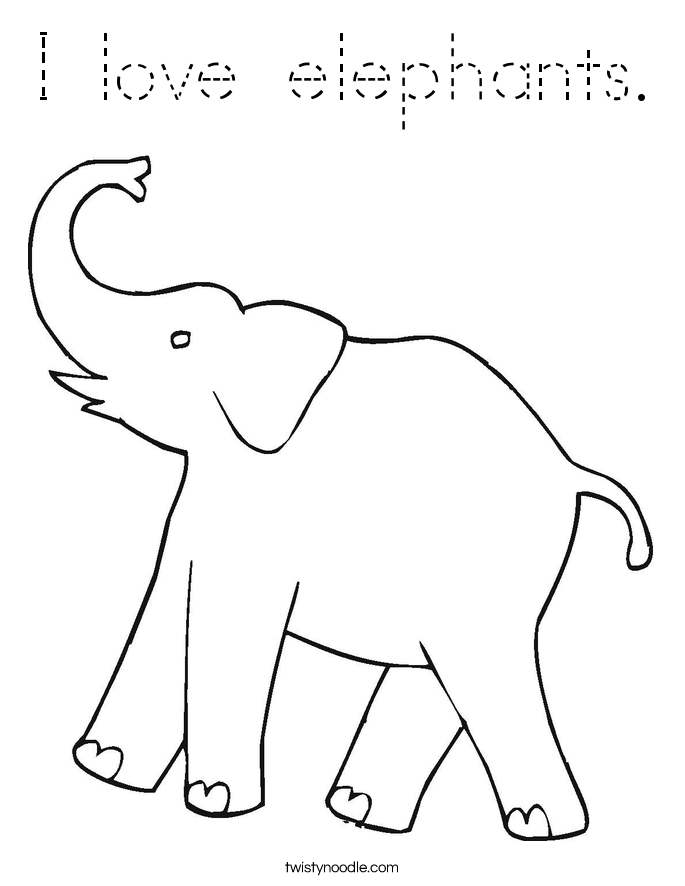traceable elephant i love elephants coloring page tracing twisty noodle elephant traceable