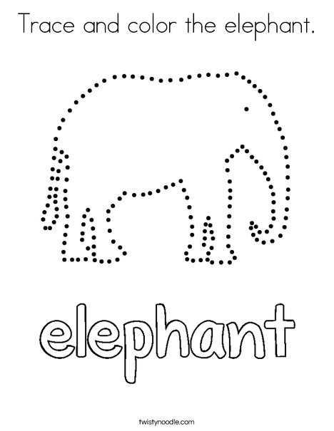 traceable elephant trace and color the elephant coloring page twisty noodle elephant traceable