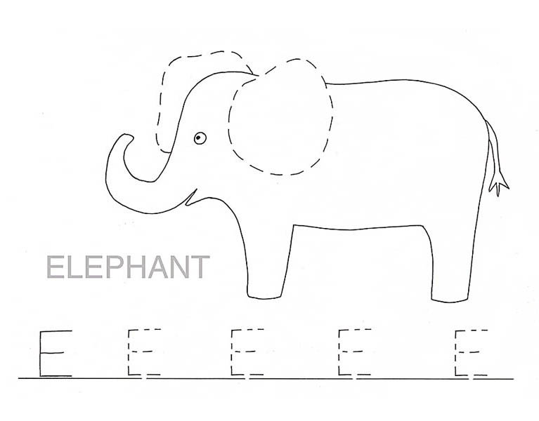traceable elephant trace letter e for elephant coloring page trace letter e traceable elephant