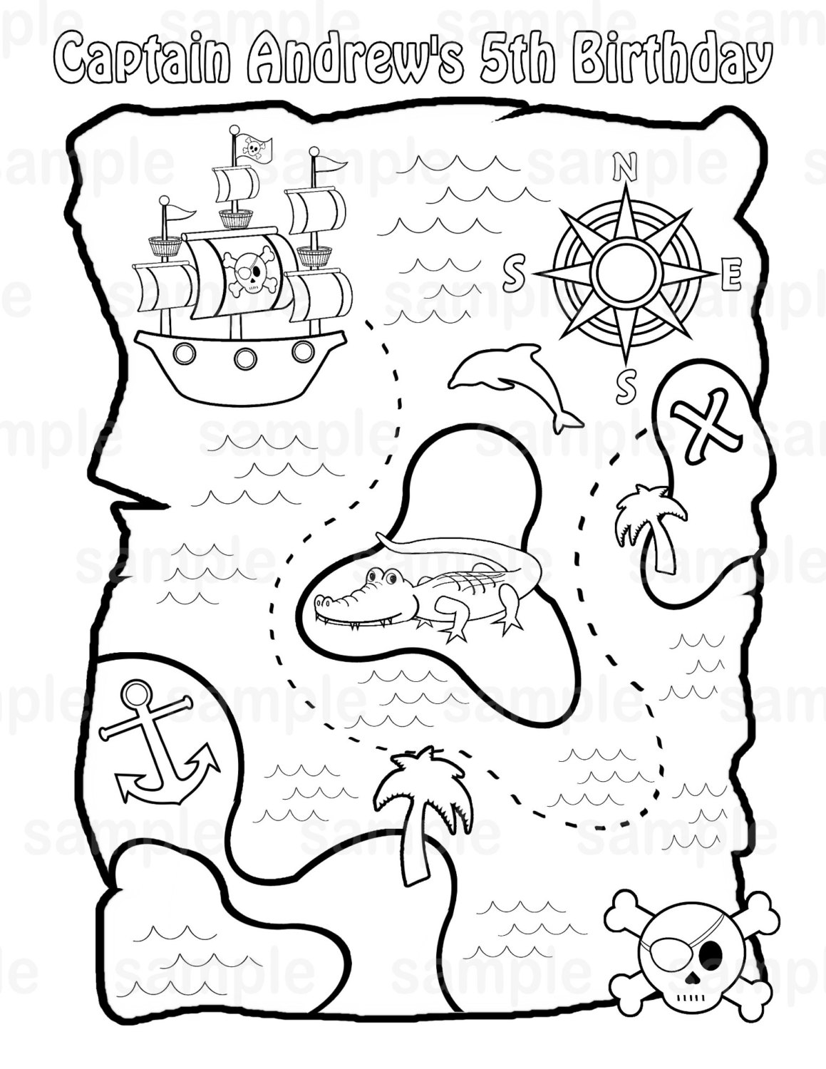 treasure map coloring page personalized printable pirate treasure map birthday party page treasure coloring map