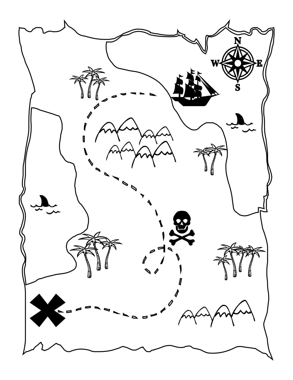 treasure map coloring page treasure map coloring pages getcoloringpagescom coloring map treasure page
