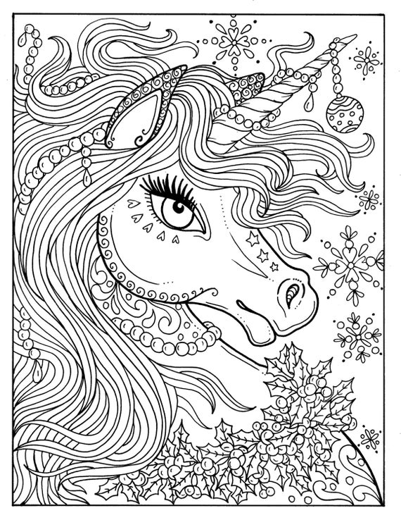 unicorn coloring page unicorn christmas coloring page adult color book art fantasy coloring unicorn page
