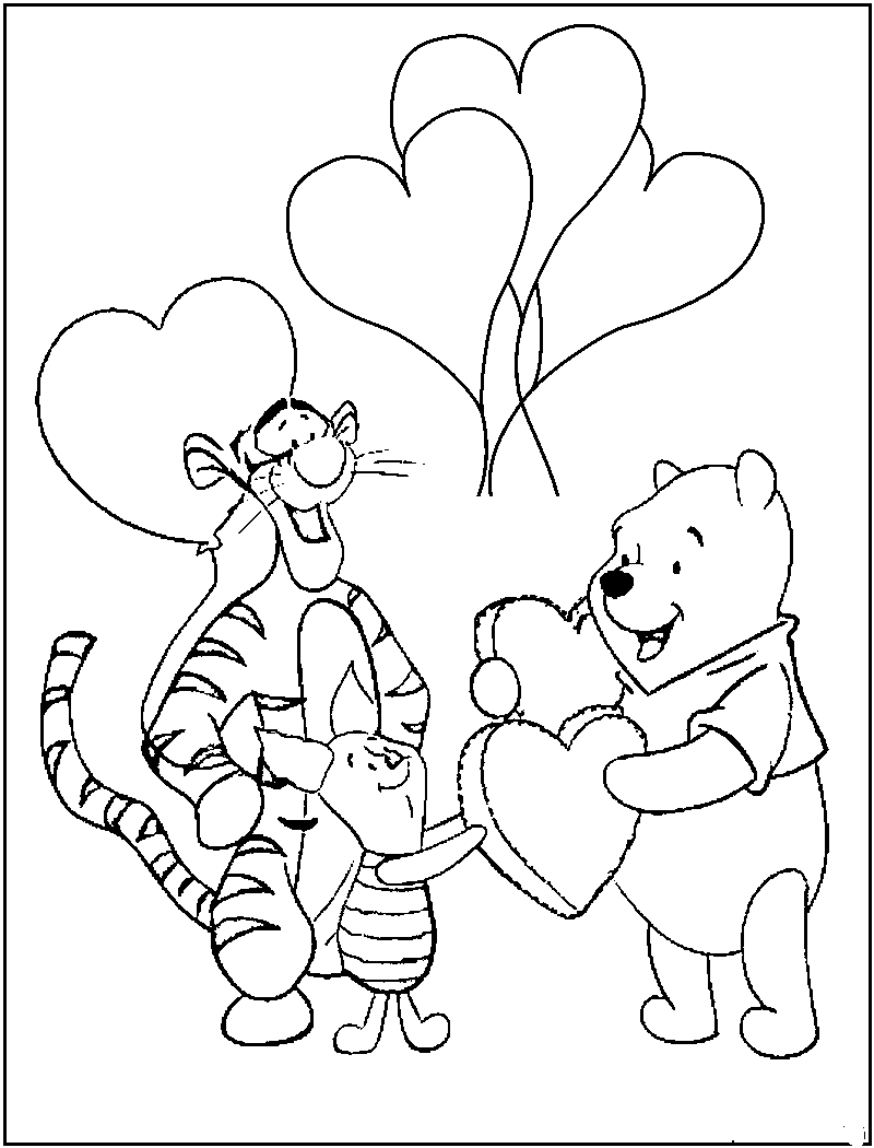 valentines color pages pooh valentine coloring pages pooh color valentines pages
