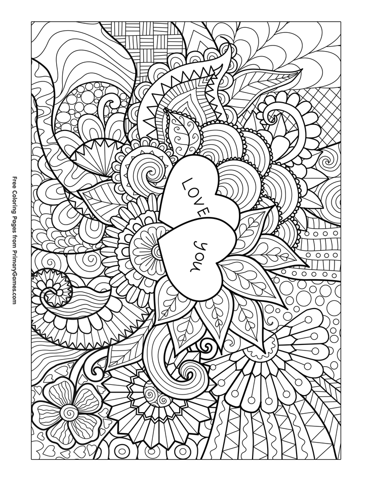 valentines coloring pages printable love you zentangle coloring page free printable ebook pages valentines coloring printable