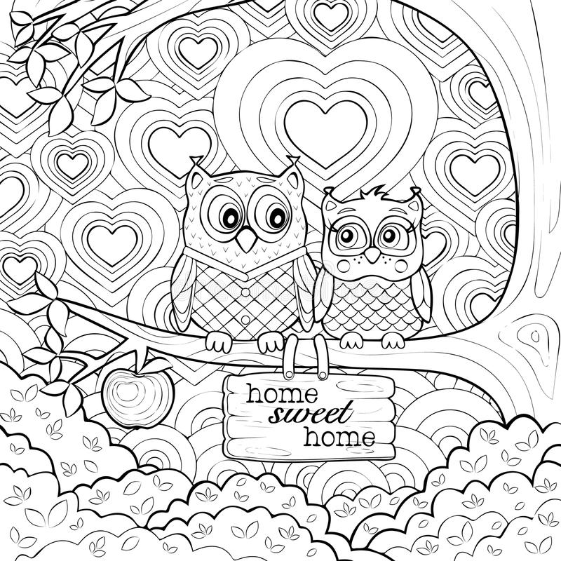 very detailed coloring pages cute owls art therapy coloring page stock vector very coloring pages detailed