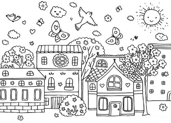 village colouring pages shops kleurprenten kiddicolour village pages colouring