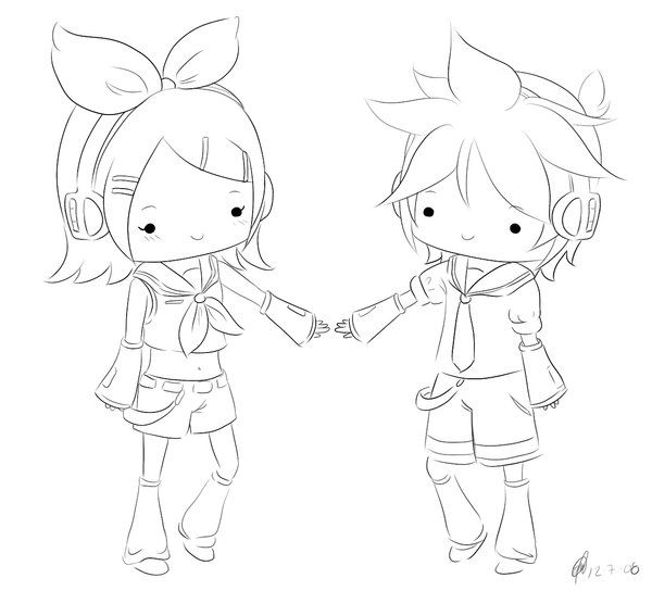 vocaloid coloring pages vocaloid rin len chibi line by maeoneechan on deviantart pages vocaloid coloring
