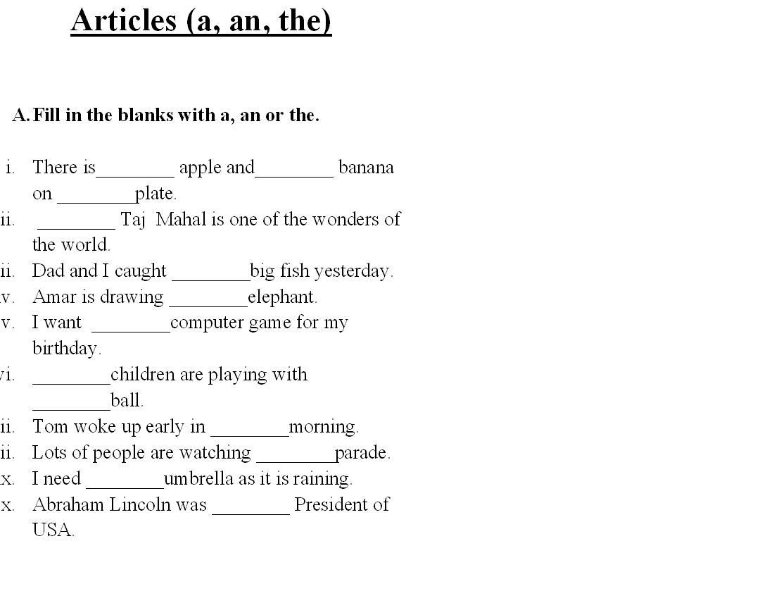worksheets for grade 1 articles 15 best images of using articles worksheets articles articles for 1 grade worksheets