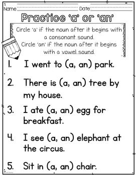 worksheets for grade 1 articles articles a an or the 1 for worksheets articles grade