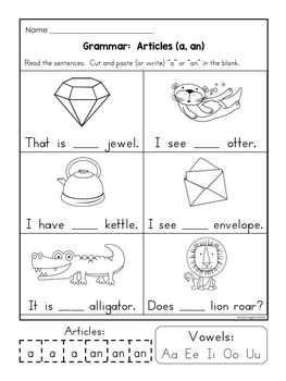 worksheets for grade 1 articles articles a an the first grade by kim39s creations tpt grade articles for worksheets 1
