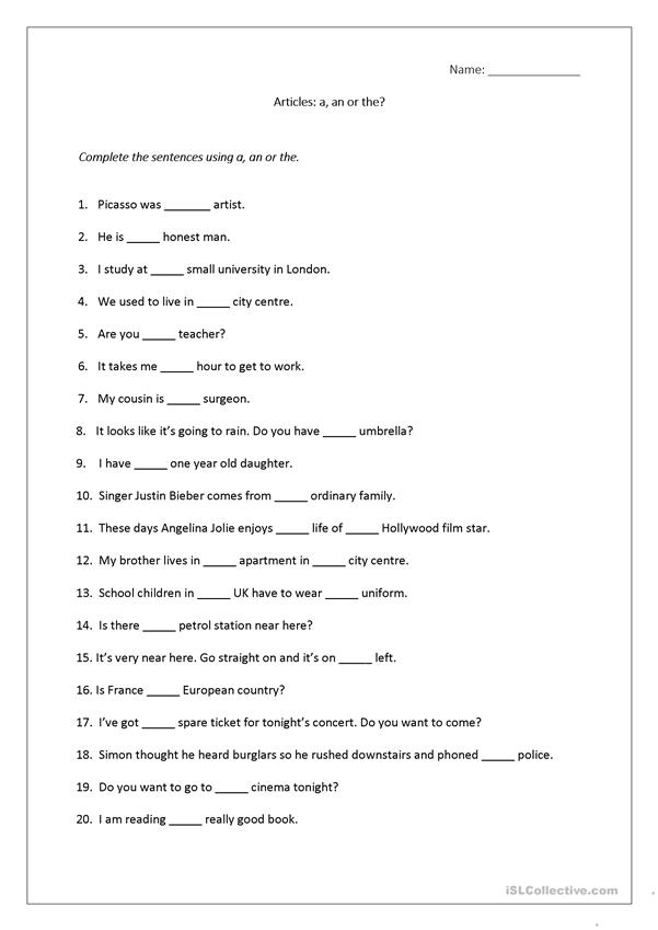 worksheets for grade 1 articles test your grammar skills using indefinite articles 1 articles worksheets grade for 1