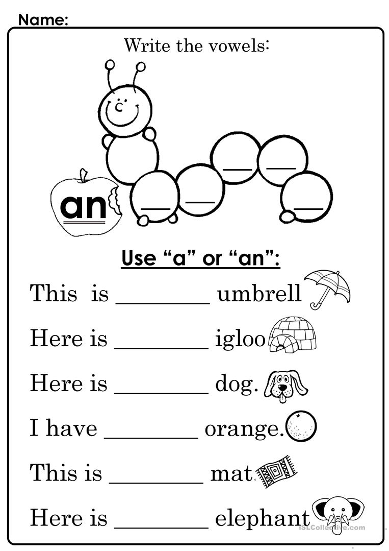 worksheets for grade 1 articles use quotaquot or quotanquot english esl worksheets 1 articles worksheets for grade