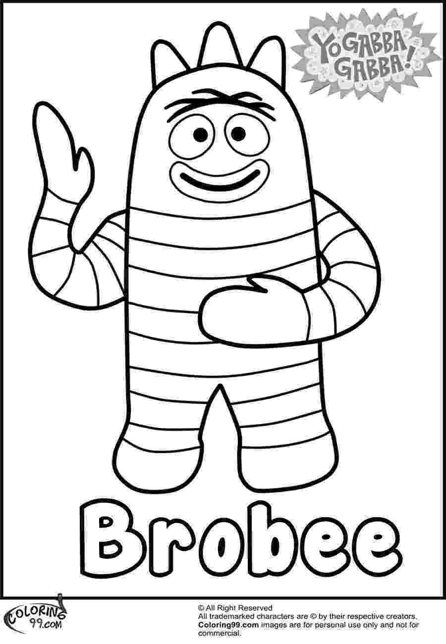 yo gabba gabba coloring pages brobee yo gabba gabba coloring pages team colors gabba pages gabba coloring yo